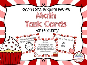Second Grade Spiral Math Task Cards for February
