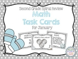 Second Grade Spiral Math Task Cards for January