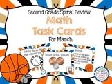 Second Grade Spiral Math Task Cards for March