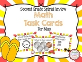Second Grade Spiral Math Task Cards for May