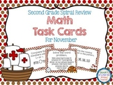 Second Grade Spiral Math Task Cards for November