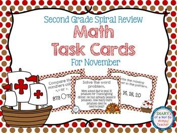 Second Grade Spiral Math Task Cards for November