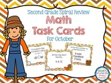 Second Grade Spiral Math Task Cards for October