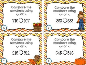 Second Grade Spiral Math Task Cards for October