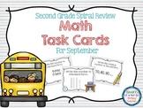 Second Grade Spiral Math Task Cards for September