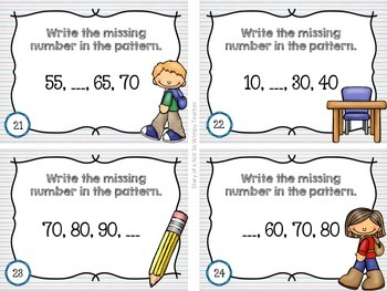 Second Grade Spiral Math Task Cards for September