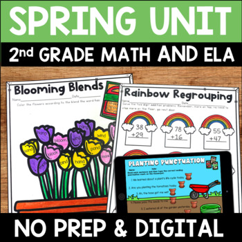 Spring Literacy and Math No Prep Distant Learning Unit for Second Grade