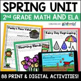 Spring Digital & Printable Math and ELA Activities Bundle for 2nd Grade