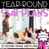 Second Grade Sub Plans for the Entire Year GROWING BUNDLE + Editable Sub Info