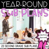 Second Grade Sub Plans for the Entire Year BUNDLE + Editable Sub Info