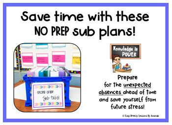 Second Grade Sub Tub # 5 Full Day! (No Prep Substitute Plans)