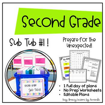 Second Grade Sub Tub #1! Full Day! (No Prep Substitute Plans)