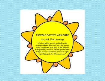 Second Grade Summer Activity Calendar