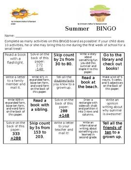 Second Grade Summer Choice Board