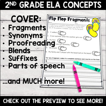 Summer No Prep Literacy Pack for Second Grade