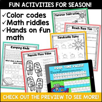 Summer No Prep Math Pack for Second Grade