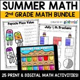 Summer Digital & Printable Math Activities Bundle for 2nd Grade