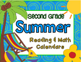 Second Grade Summer Reading and Math with June & July 2015 Calendars