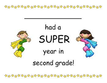 Second Grade - Super End of School Year Super Hero Certificates
