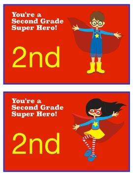 Second Grade Super Hero Postcards