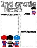 Second Grade Superhero - Editable Word Newsletter