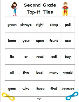 Second Grade Superhero Tap-It Tiles: Sight Word and High Frequency Word Charts