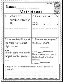 Second Grade Supplemental Math Boxes Unit 5