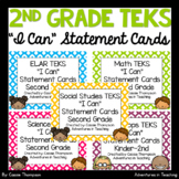 Second Grade TEKS I Can Statement Cards- All Subject BUNDLE- Bright Quatrefoil