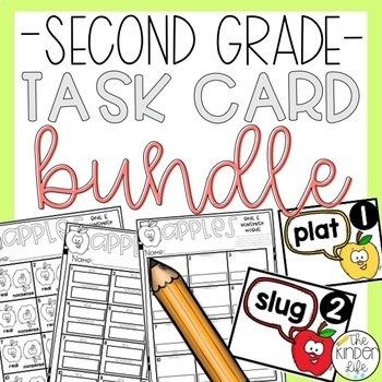 Second Grade Task Cards GROWING BUNDLE