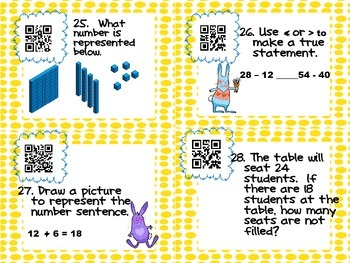2nd Grade Task Cards with QR code Answers