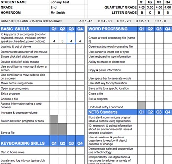 2nd Grade Technology Standards Based Report Card