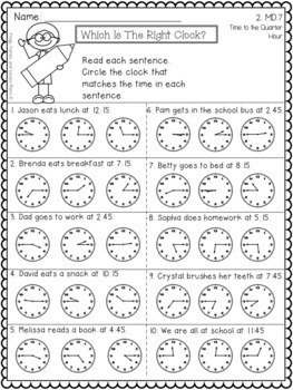 Second Grade Telling Time Activities and Assessments