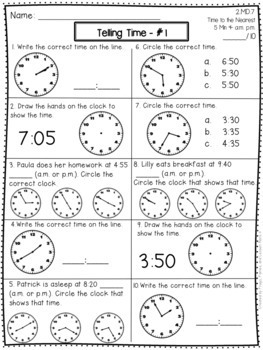 Telling Time Activities and Assessments - 2nd Grade