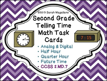 Telling Time Math Task Cards (Half Hour/Quarter Hour): Second Grade