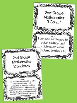 Second Grade Tennessee State Standard ELA  and Math Posters