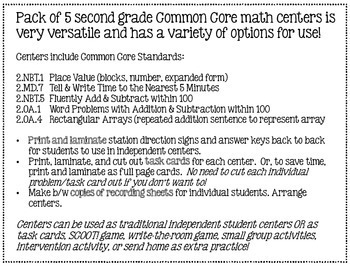 Thanksgiving Common Core Math Centers: Second Grade