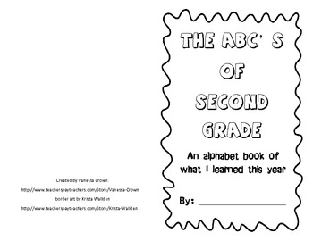 Second Grade- The ABC's of What I Learned This Year- end of year book