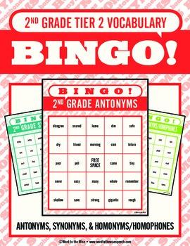 Second Grade Tier 2 Vocabulary Bingo