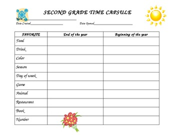 Second Grade Time Capsule