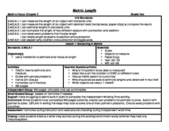 Second Grade Metric Length Math in Focus Lesson Plans