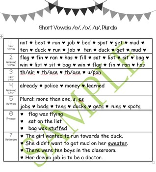 Second Grade Toughie Chart Phonics and Grammar - 2 Short V