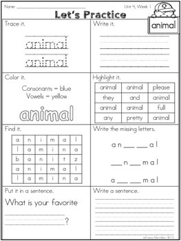 Second Grade Trick Words Practice Pack