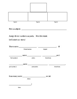 Second Grade Two Step World Problem Graphic Organizer with Bar Model/DIagram