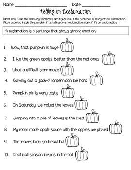 2nd Grade Sentence Printables: Fall Themed