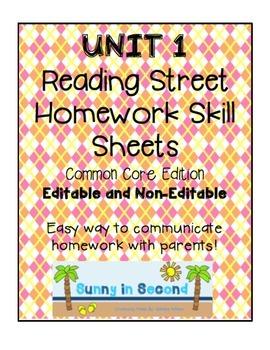 Second Grade Unit 1 Reading Street - Common Core Edition - Homework Skill Sheets