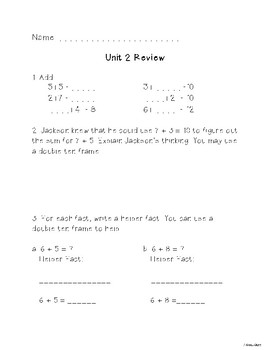 Second Grade Unit 2 Everyday Math Test Review