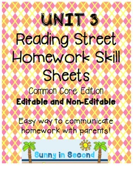Second Grade Unit 3 Reading Street - Common Core Edition - Homework Skill Sheets
