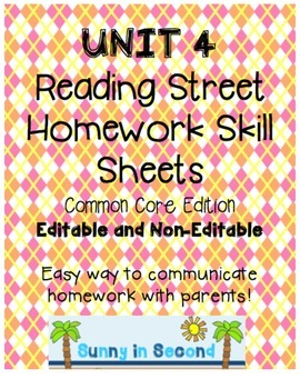 Second Grade Unit 4 Reading Street - Common Core Edition - Homework Skill Sheets
