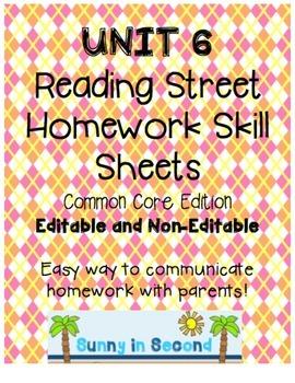 Second Grade Unit 6 Reading Street - Common Core Edition - Homework Skill Sheets