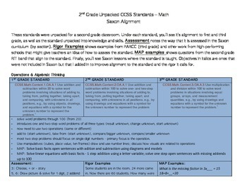 Second Grade Unpacked Math Common Core Standards with Saxon Curriculum Alignment